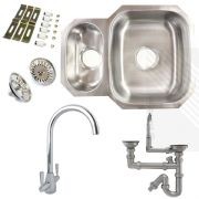 Premium Undermount Stainless Steel Kitchen Sink | Reversible 1.5 Bowl | Dual Lever Kitchen Tap Pack including Pipework